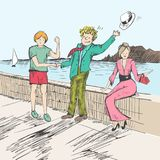Un vendedor sigue una mariposa Dos para hombre encontrados por un mar saludo amistoso La gente saca sus sombreros como muestra de Imagen de archivo libre de regalías