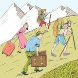Un vendedor sigue una mariposa Los viajeros cansados suben una montaña Los turistas siguen la guía Imagenes de archivo