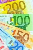 Un ventilador con las notas euro Imágenes de archivo libres de regalías