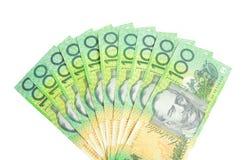 Un ventilador de dólares australianos Imágenes de archivo libres de regalías