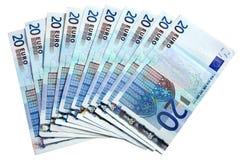 Un ventilateur de 20 euro notes. Image libre de droits