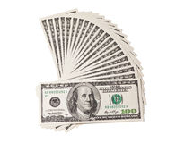 Un ventilatore degli cento dollari Immagine Stock