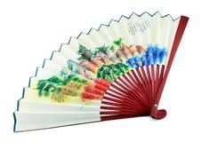 Un ventilatore giapponese isolato Immagine Stock