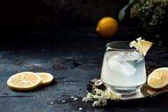 Un verre de genièvre fait maison de fleur de sureau aigre ou de limonade garnie avec des fleurs de sureau fraîchement sélectionné images stock