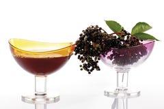 Un verre de jus de baie de sureau et d'aîné noir (nigra de Sambucus) Photographie stock libre de droits