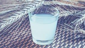 Un verre de vodka ukrainienne sur une table en bois Nourriture rustique Image stock