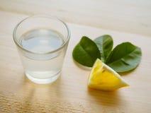 Un verre de vodka ukrainienne sur une table en bois Nourriture rustique Photos stock