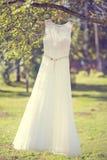 Un vestito da sposa che appende su un albero Immagine Stock Libera da Diritti