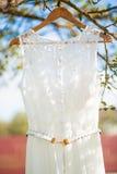 Un vestito da sposa che appende su un albero Fotografia Stock