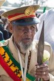 Un veterano de guerra con las medallas celebra el 119o aniversario del anuncio Foto de archivo libre de regalías