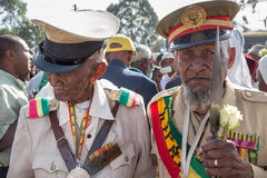 Un veterano di guerra con le medaglie celebra il 119th anniversario dell'annuncio Immagine Stock Libera da Diritti
