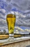 Un vetro di birra sui precedenti del fiume Fotografia Stock Libera da Diritti