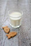 Un vetro di latte e dei biscotti Immagini Stock Libere da Diritti