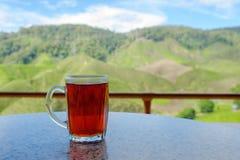 Un vetro di tè caldo sulla tavola nel negozio del tè con il BAC delle piantagioni di tè Immagine Stock