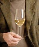 Un vetro di vino bianco Fotografia Stock Libera da Diritti