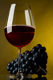 Un vetro di vino rosso e dell'uva Fotografie Stock Libere da Diritti