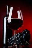 Un vetro pieno di vino e della bottiglia Immagini Stock Libere da Diritti