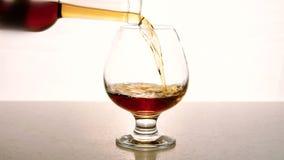 In un vetro vuoto dalla bottiglia l'alcool è versato su fondo bianco video d archivio