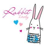 Un vettore adorabile del fumetto del coniglio illustrazione di stock