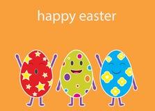 Un vettore del fumetto di tre uova di Pasqua divertenti Fotografie Stock