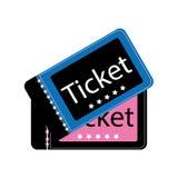 Un vettore eps10 di due del cinema biglietti di film rosa del biglietto del cinema di film e colore blu su fondo bianco illustrazione vettoriale