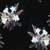 Un vettore senza cuciture floreale della stampa del modello di ripetizione del giardino lunatico in bianco e nero struttura il fo illustrazione vettoriale