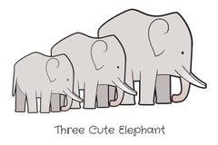 Un vettore sveglio di tre elefanti illustrazione di stock
