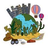 Un viaje a América en un globo del aire caliente libre illustration