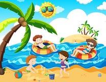 Un viaje de la familia en la playa del th Ilustración del Vector