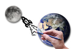 Un viaje a la luna Foto de archivo libre de regalías
