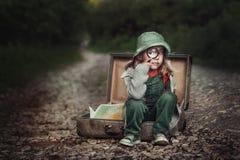 Un viajero de la niña Fotografía de archivo
