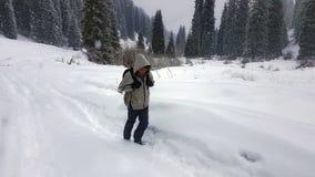 Un viajero en el bosque del invierno Fotografía de archivo libre de regalías
