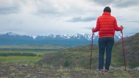 Un viajero en las montañas se coloca en una roca, inclinándose en los palillos suecos almacen de metraje de vídeo
