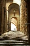 Vecchio vicolo della città in Toscana Fotografie Stock Libere da Diritti