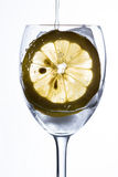 Un vidrio con agua, el hielo y el limón Imágenes de archivo libres de regalías