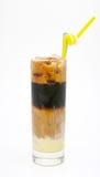 Un vidrio de cuatro capas heló el café de la leche Foto de archivo libre de regalías