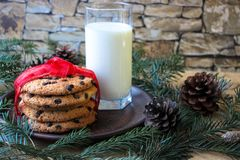 Un vidrio de leche y de galletas para Papá Noel imagen de archivo libre de regalías