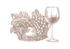 Un vidrio de vino y una cesta de uvas stock de ilustración