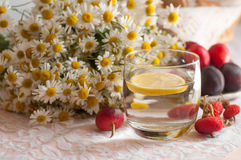 Un vidrio del agua con una rebanada del limón en ella, de una placa de ciruelos maduros y de un ramo de manzanillas en una superf Foto de archivo libre de regalías