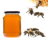 Un vidrio del tarro con la miel y las abejas Foto de archivo