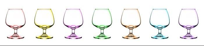 Un vidrio vacío del coñac Color múltiple en un blanco Foto de archivo libre de regalías
