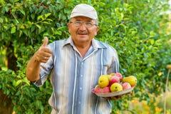 Un viejo hombre con una bandeja de fruta Fotos de archivo