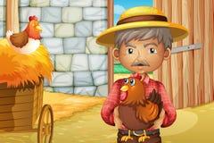 Un viejo hombre que sostiene un gallo dentro del barnhouse stock de ilustración