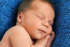 Un vieux bébé de semaine sur la couverture blanche et la main femelle Image libre de droits