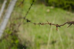 Un vieux barbelé sur le territoire abandonné Photographie stock libre de droits