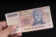 Un vieux billet de banque argentin Image stock