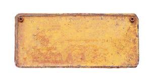 Un vieux de plaque métallique blanc rouillé Image libre de droits