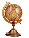 Un vieux globe brun de vintage sur un petit support Photographie stock