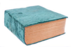Un vieux livre dans un velours vert Photographie stock libre de droits