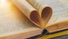 Un vieux livre ouvert avec des feuilles sous forme de coeur Image libre de droits